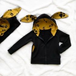 Mikina čierna so zipsom a kapucňou s uškami