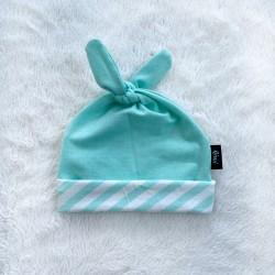 Čiapočka pre bábätká mentolová s pásikmi BIO
