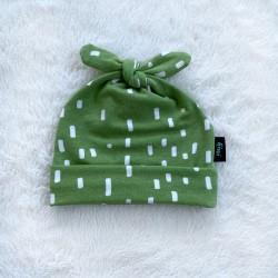 Čiapočka pre bábätká zelená s čiarkami BIO