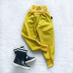 Softshellové nohavice žlté zateplené