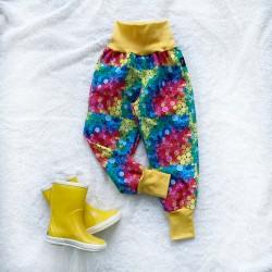 Softshellové nohavice farebné guličky prechodné (letné)
