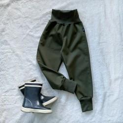 Softshellové nohavice khaki zateplené