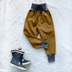 Softshellové nohavice karamel zateplené